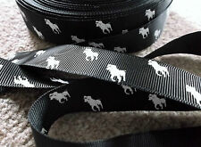 1m grosgrain BLACK 22mm ribbon WHITE polo pony horse use dummy / hair clip cake