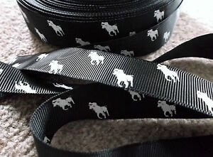 1m grosgrain BLACK 22mm ribbon WHITE polo pony horse use dummy  hair clip cake - <span itemprop='availableAtOrFrom'>Scarborough, North Yorkshire, United Kingdom</span> - 1m grosgrain BLACK 22mm ribbon WHITE polo pony horse use dummy  hair clip cake - Scarborough, North Yorkshire, United Kingdom