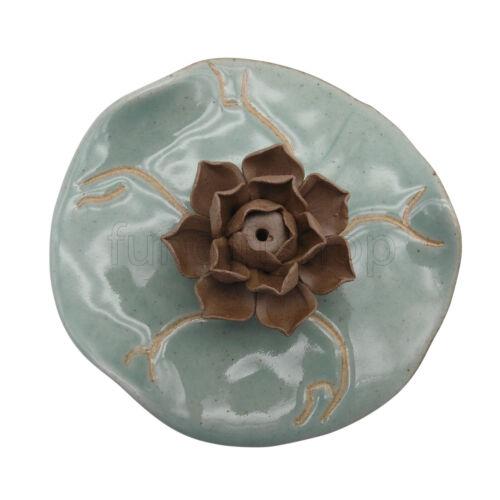 Ceramic Incense Stick Burner Lotus Flower green Ash catcher Holder
