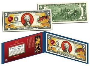 Set Of 12 Chinese Lunar Zodiac Year Colorized USA $2 Dollar Bill Certified