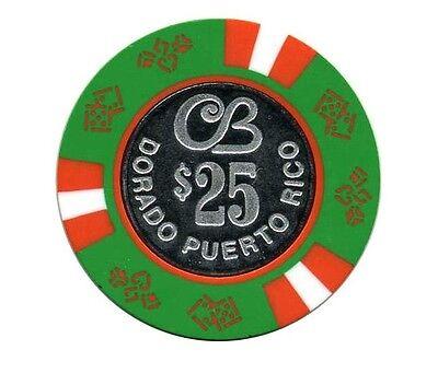 $100 CERROMAR BEACH Blue White Coin CASINO Chip DORADO Puerto Rico Bud Jones