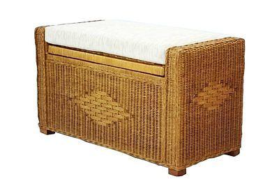 huge selection of 9970c fc8f3 Handmade Rectangular Chest Ottoman Bruno Rattan Wicker w/ Cushion 32