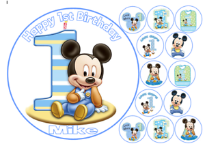 Phenomenal Edible Mickey Mouse 1St Birthday Personalised Birthday Party Personalised Birthday Cards Petedlily Jamesorg