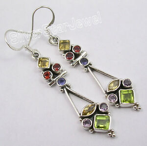 925-Sterling-Silver-MULTISTONES-MULTICOLOR-Earrings-2-1-034-INDIAN-JEWELRY-STORE