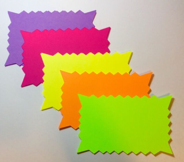"""4/""""x5.5/"""" 100pk Fluorescent Price Neon Retail Tags Cards Signs NEW"""