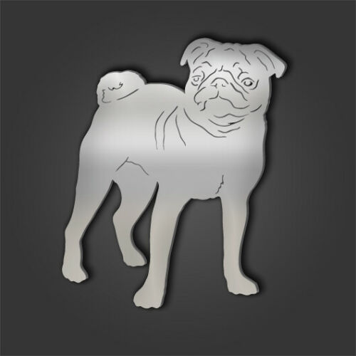 Pug Style 2 Silver Acrylic Mirror