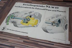 Vieux-Affiche-Tableau-D-039-Apprentissage-Ifa-Boite-de-Transfert-W-50-Vintage