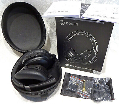 cowin se7 anc noise cancelling headset wireless bluetooth headphones black ebay ebay