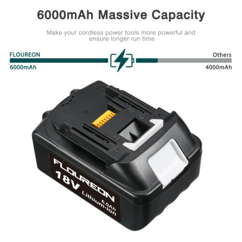 For Makita Drill BL1830 BL1840 BL1815 BL1845 Lithium-ion Battery 18V 6Ah 2-Pack