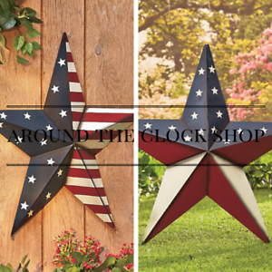 Barn-Star-Americana-Patriotic-Metal-Wall-Decor-24-034-Indoor-Outdoor-Stake-2-Styles