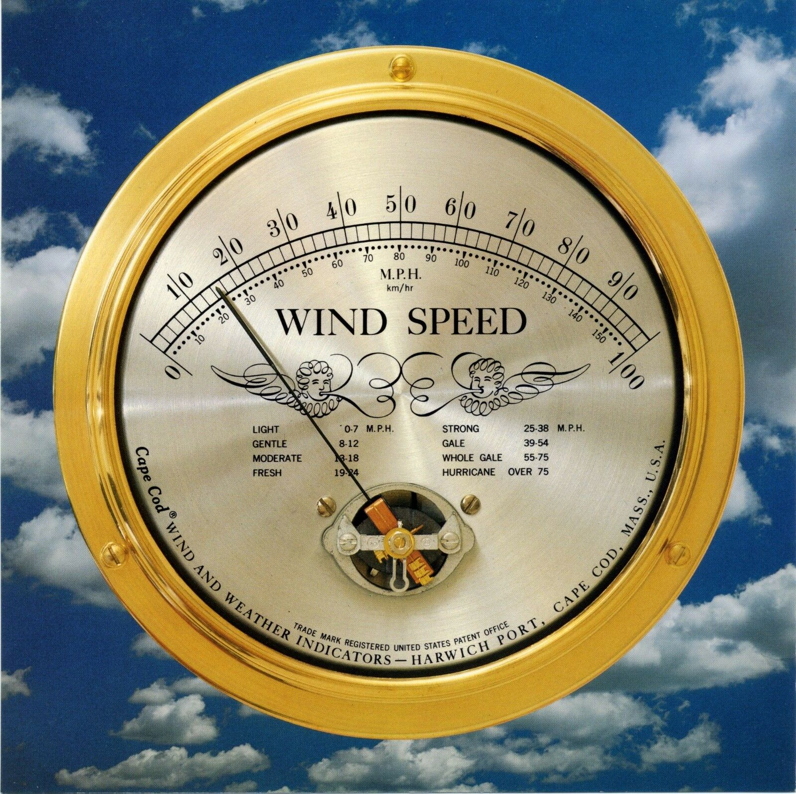 Wind Speed Instrument   Solid Brass Case, Cape Cod Wind & Weather - Made in USA