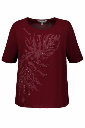 ULLA POPKEN Shirtbluse kurzarm mit Print dunkelrot NEU