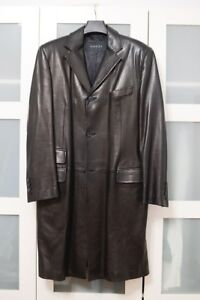 bfadff85b Gucci Mens Leather Trench Coat Jacket 52 Black Ticket Pocket Knee ...