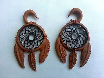 Pair Tribal Dream Catcher Resin Saba Wood Ear Taper Spiral Expander Plug Gauges