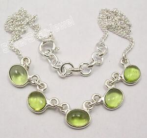 925-Sterling-Silver-CABOCHON-GREEN-PERIDOT-5-STONE-STYLISH-Necklace-16-8-034-NEW