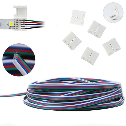 5Pin LED Strip Light RGBW RGBWW Cable Adapter Clip Connector Wire 5050-12mm