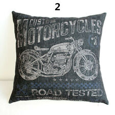 Vintage Custom Motorcycles Linen Square Pillow Cushion Cover.