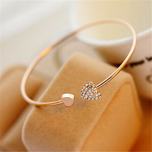 1PC Women Fashion Style Gold Rhinestone Love Heart Bangle Cuff Bracelet Jewelry