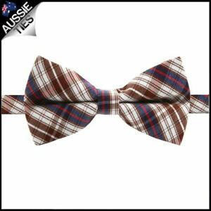 Boys-Brown-Blue-Red-amp-White-Plaid-Bow-Tie