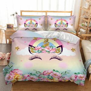 3D-Rainbow-Flowers-Unicorn-Bedding-Duvet-Cover-Comforter-Cover-PillowCase
