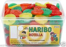 Haribo Sweets Tub Rotella Fruit Liquorice Wheels 120 Pieces