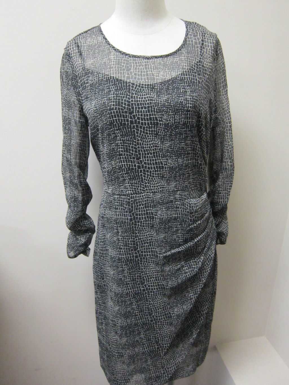 DKNYC Faux Wrap 3 4 Ruched Sleeve Dress schwarz NWT