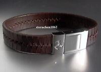 Herren Leder Armband Edelstahl / Braun / Zirkonia