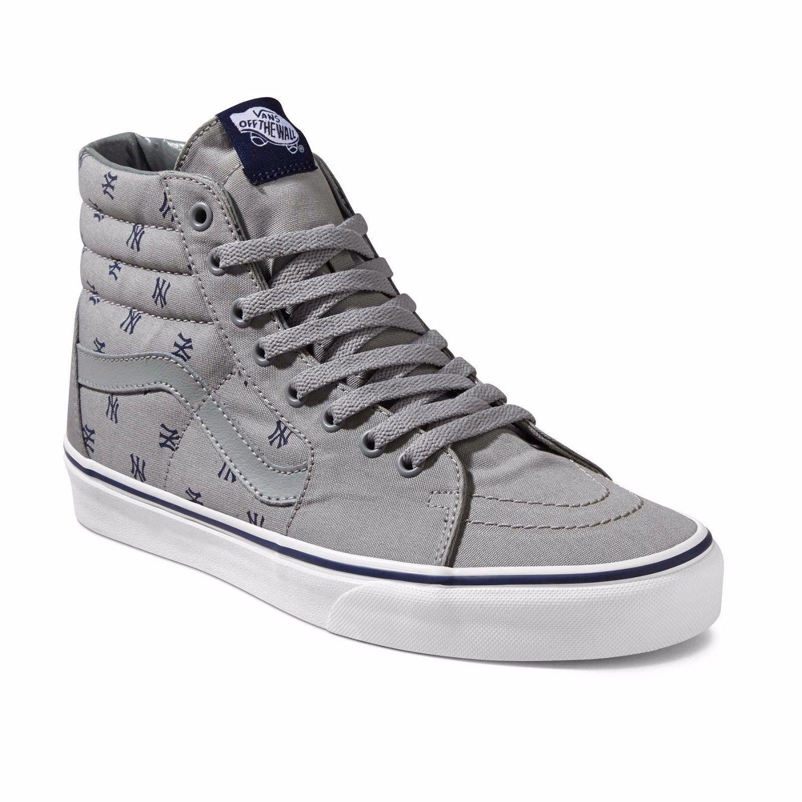 Vans Sk8 Hi Men's MLB New York Yankees Grey Blue Baseball NY Shoes NEW in Box