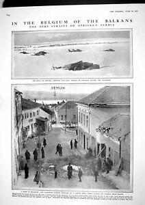 Original Old Antique Print 1915 Serbian Siers War Balkans Belgrade Flanders