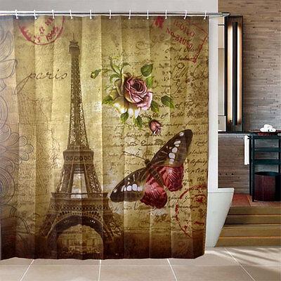Waterproof Paris Eiffel Tower Bathroom Fabric Shower Bath Hooks Shower Curtain*