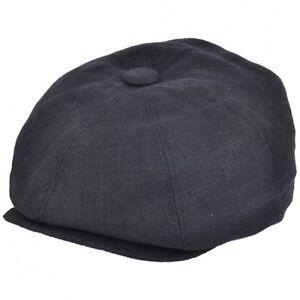 G   H Black Linen 8 Panel Peaky Blinders Style Newsboy Cap Hat  d178c3cba245