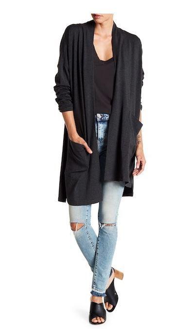 Eileen Fisher The Icons Charcoal Kimono Cozy Tencel Stretch Cardigan XXS