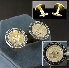 14kt Gold Ep Men's Presidential Seal Oval Office Enameled Cuff Links