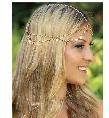 Vintage deco chaîne dorée Déesse coin Romain Grec Festival cheveux bijou Headband Head
