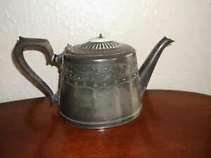 Image is loading ANTIQUE-SILVER-PLATED-TEAPOT-EVANS-&-MATTHEWS-BIRMINGHAM- & ANTIQUE SILVER PLATED TEAPOT EVANS u0026 MATTHEWS BIRMINGHAM 0353 4 21 ...