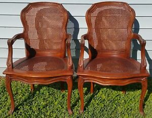 Pair-Vintage-Thomasville-French-Provincial-Country-Cane-Back-amp-Seat-Armchairs