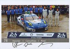 Henzler, Camathias, Ried Hand Signed Le Mans 2016 Promo Card Porsche.
