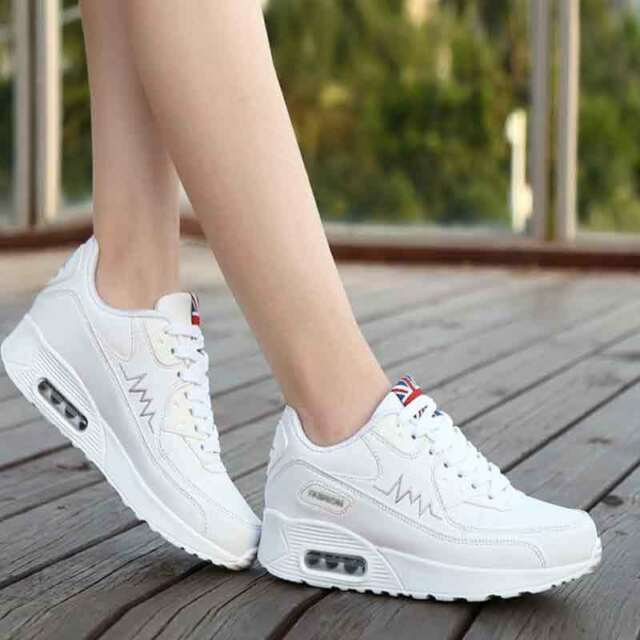 Woman Lace Up Platform High Heel Wedge Sneakers Sports Fashion Trainers Shoes