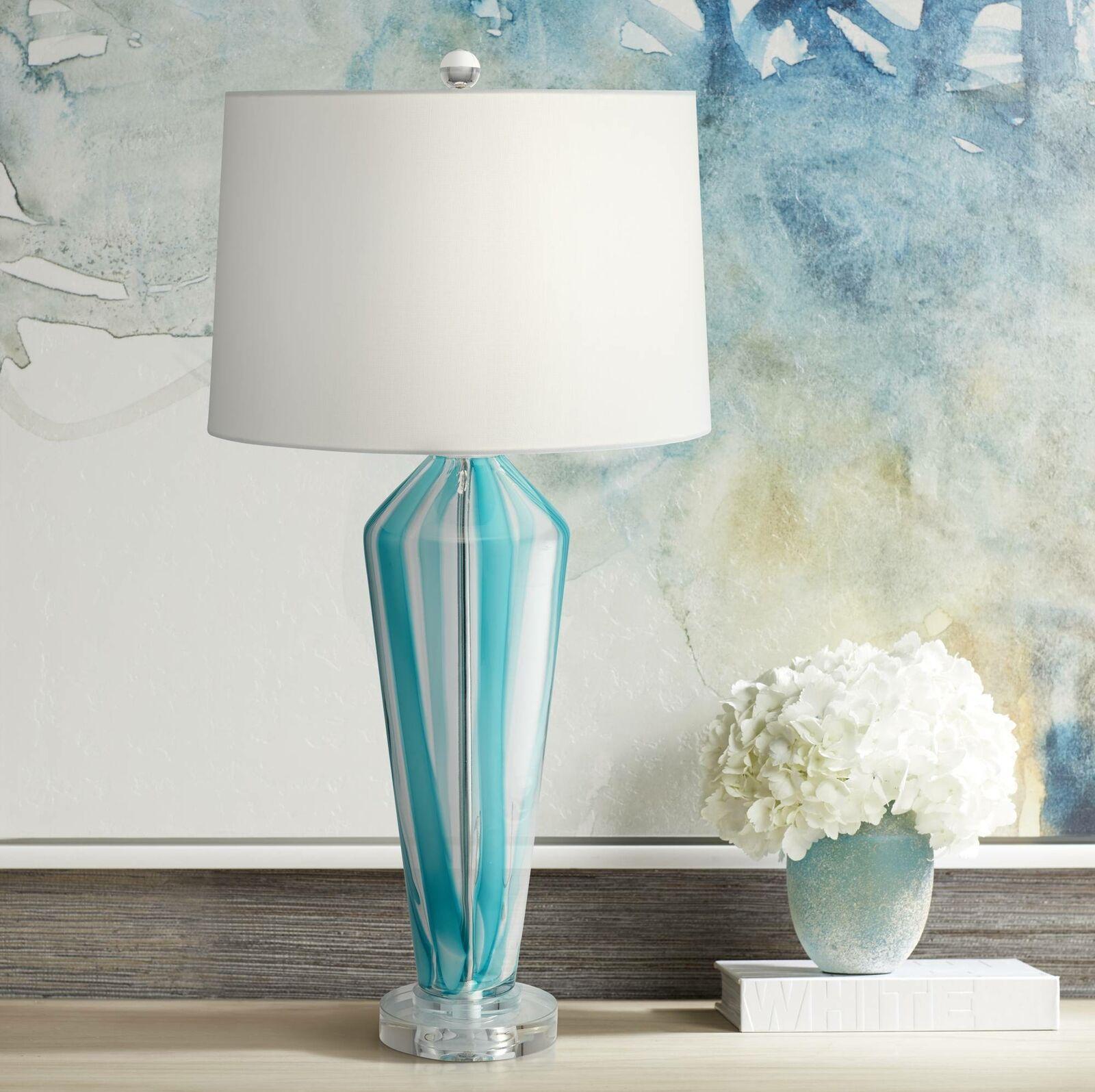 Modern Table Lamp Blue Art Glass White Drum Shade Living Room Bedroom Bedside For Sale Online