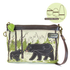 Chala Handbags-Small Crossbody Purse with Baby Bear and Mother Theme (926BR )