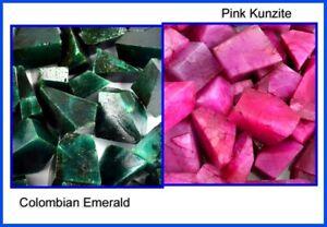 Colombian Emerald & Pink Kunzite Natural 2000 Carat Gemstone Polished Rough Lot