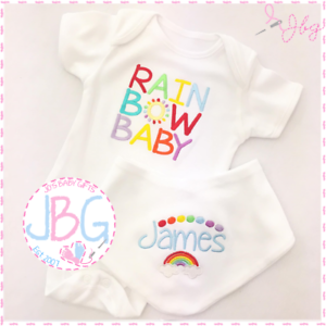 Chaleco de bebé personalizada Arco Iris /& Babero Set ropa de bebé bebé ducha regalo Arco Iris