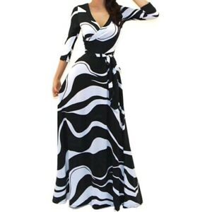 Womens-Black-White-Waves-Faux-Wrap-Evening-Casual-Party-Maxi-Dress-S-M-L