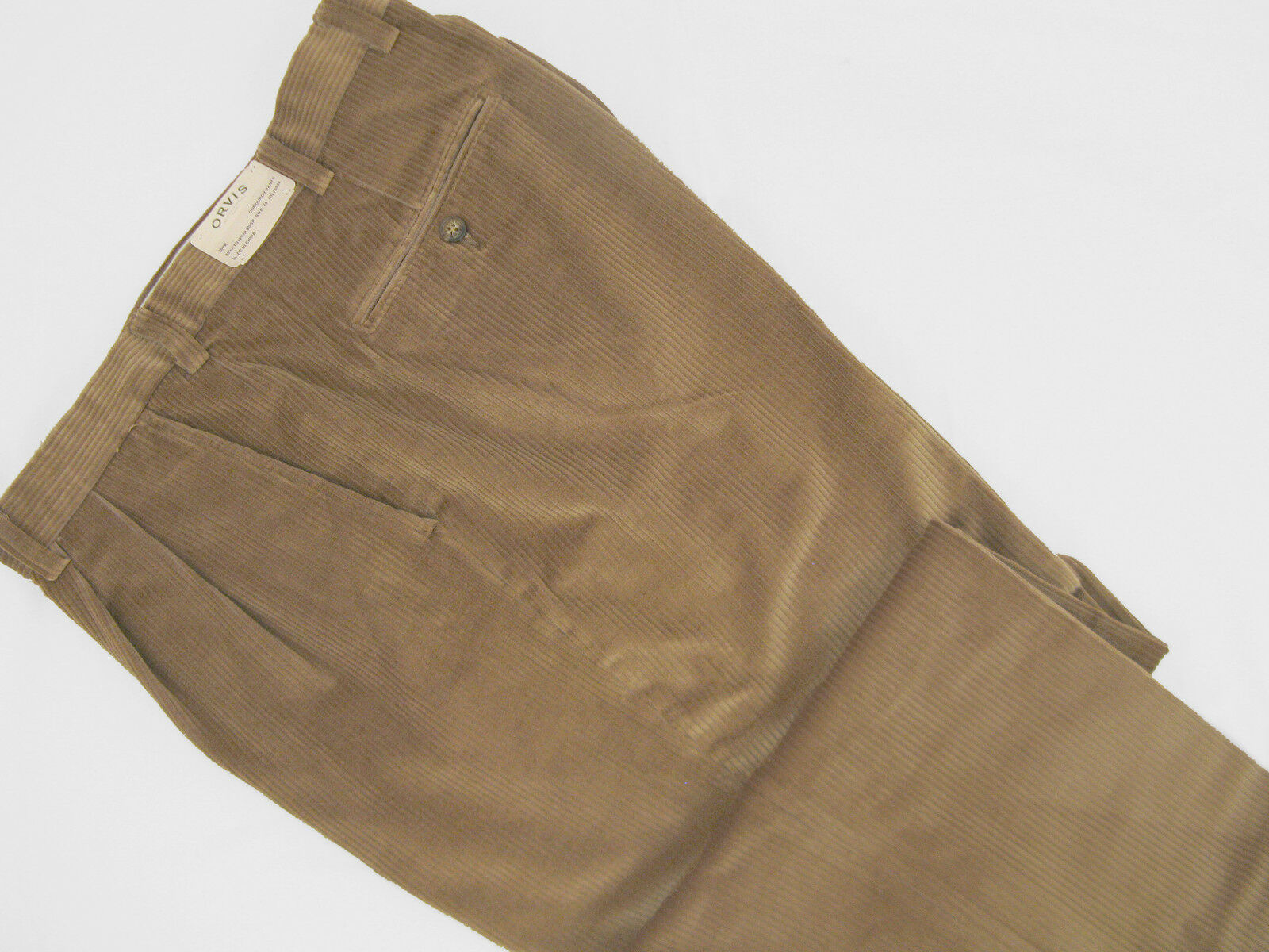 NEW   Orvis Stretch Super Cords Pants   32  Pleated Front  Light Brown