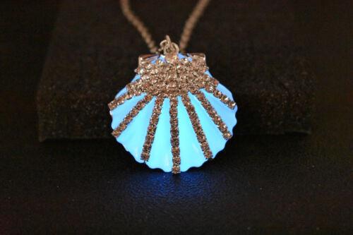 Little mermaid Ariel Glow in the dark Seashell Necklace Mako Glow Blue Seashell