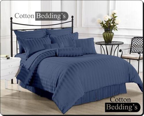 SALE 800-1000-1200 TC UK 100/%Egyptian Cotton Navy Blue Color Fitted//Flat//Duvet