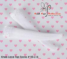 ☆╮Cool Cat╭☆【KS-L16】Blythe/Pullip Knee Lace Top Doll Socks # White
