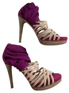 7 Sandals Fendi Nude Leather Elastic Pink 37 Purple Platform Strappy HHq0z