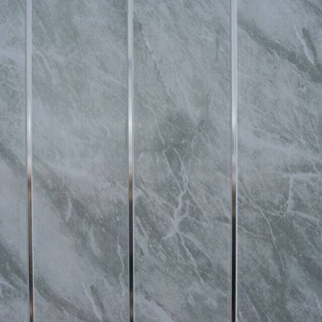 Grey marble chrome bathroom cladding panels pvc kitchen ceiling shower wall 5pcs ebay for Plastic ceiling panels bathroom