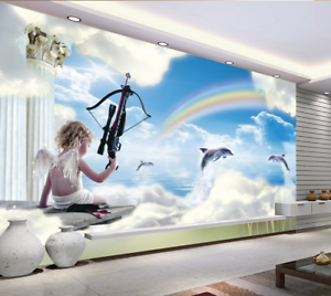 3D Sky Cupid Dolphin 935 Wallpaper Mural Paper Wall Print Wallpaper Murals UK